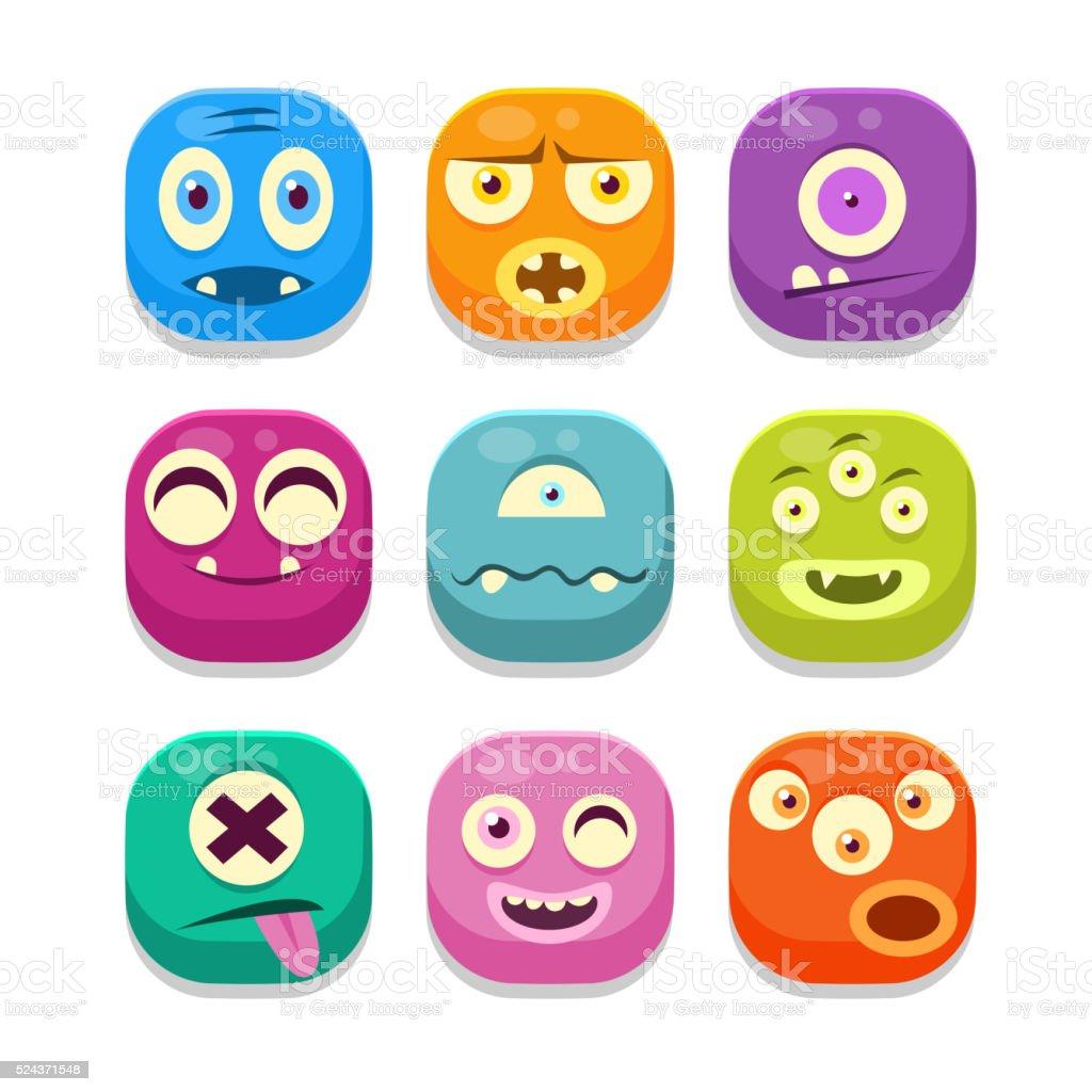 Monster Emoji Icons Set vector art illustration