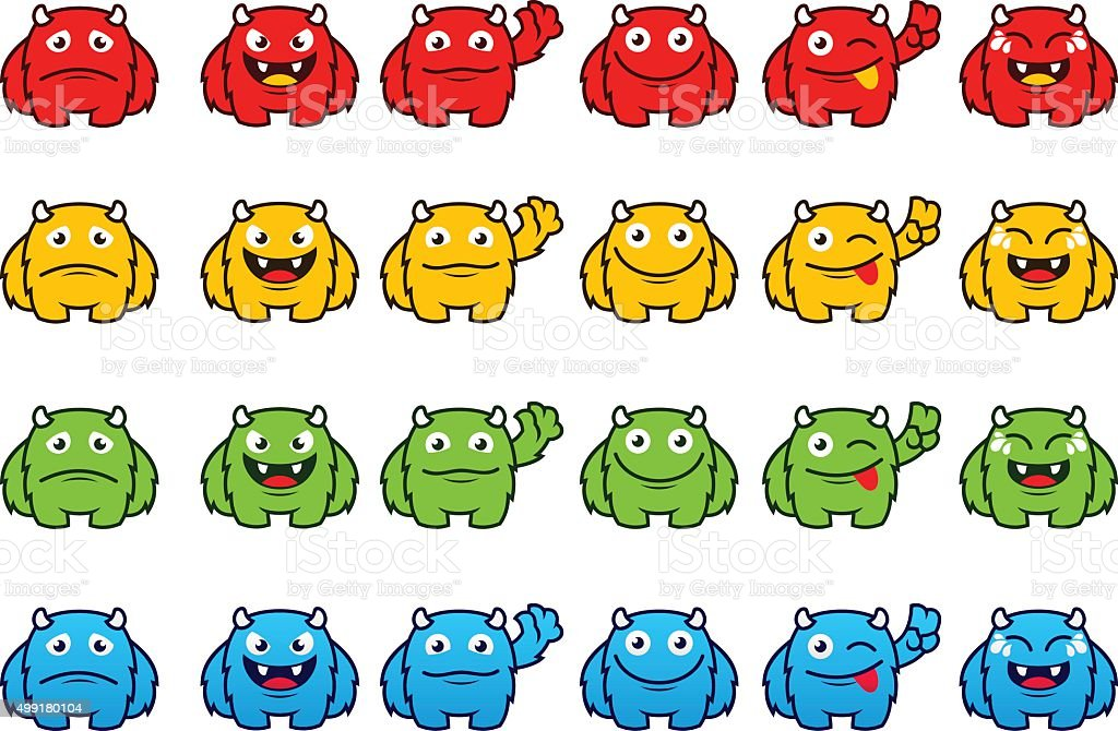 monster emoticon set vector art illustration