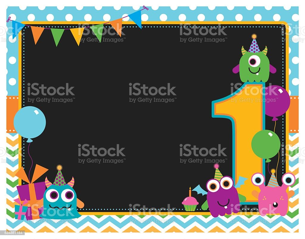 Monster First Birthday Invitation vector art illustration