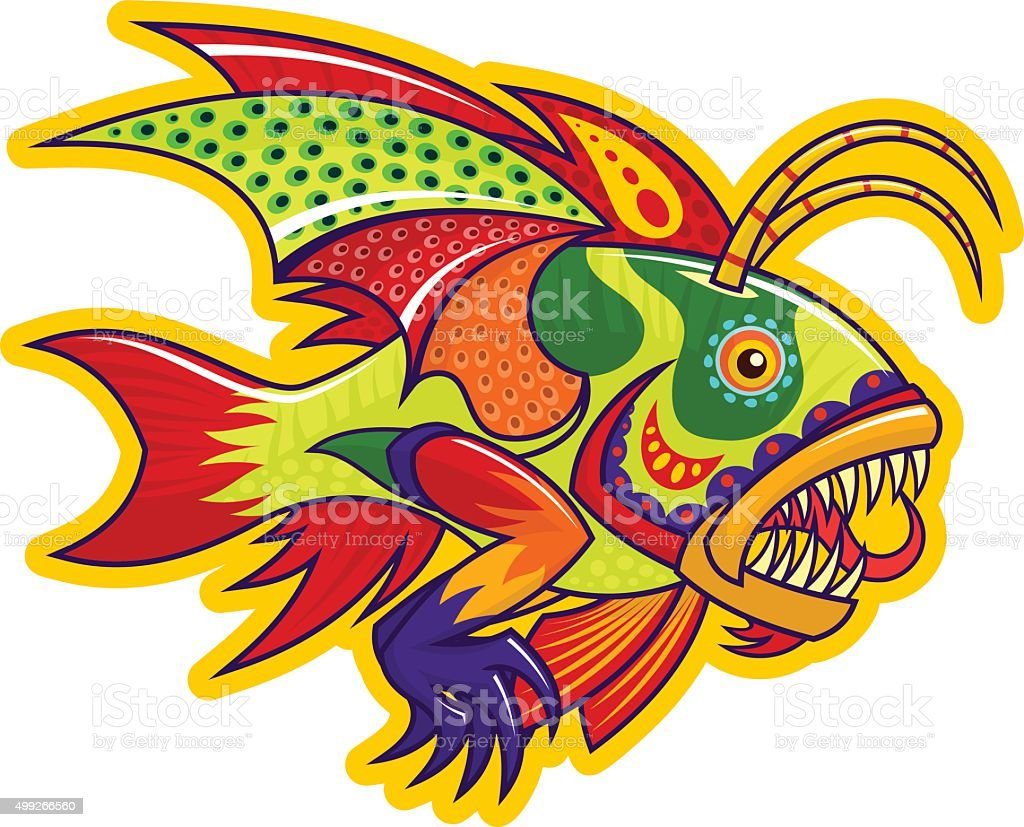 Monster fish vector art illustration