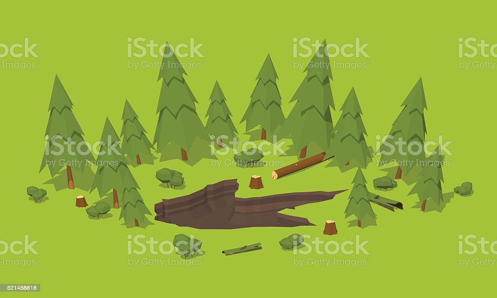Monster footprint in the forest vector art illustration
