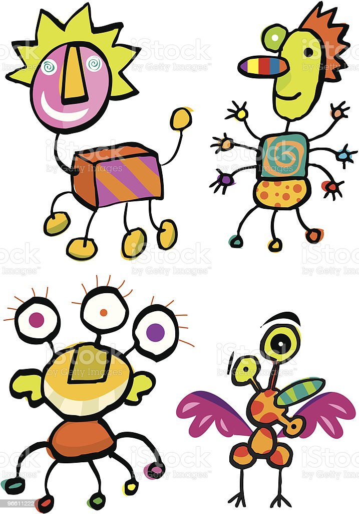 Monster fun crazy animals or germs royalty-free stock vector art