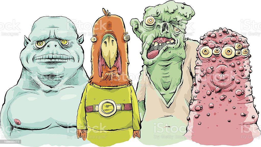 Monster Gang vector art illustration