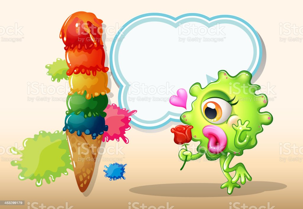 monster holding a rose while standing near the giant icecream royalty-free stock vector art