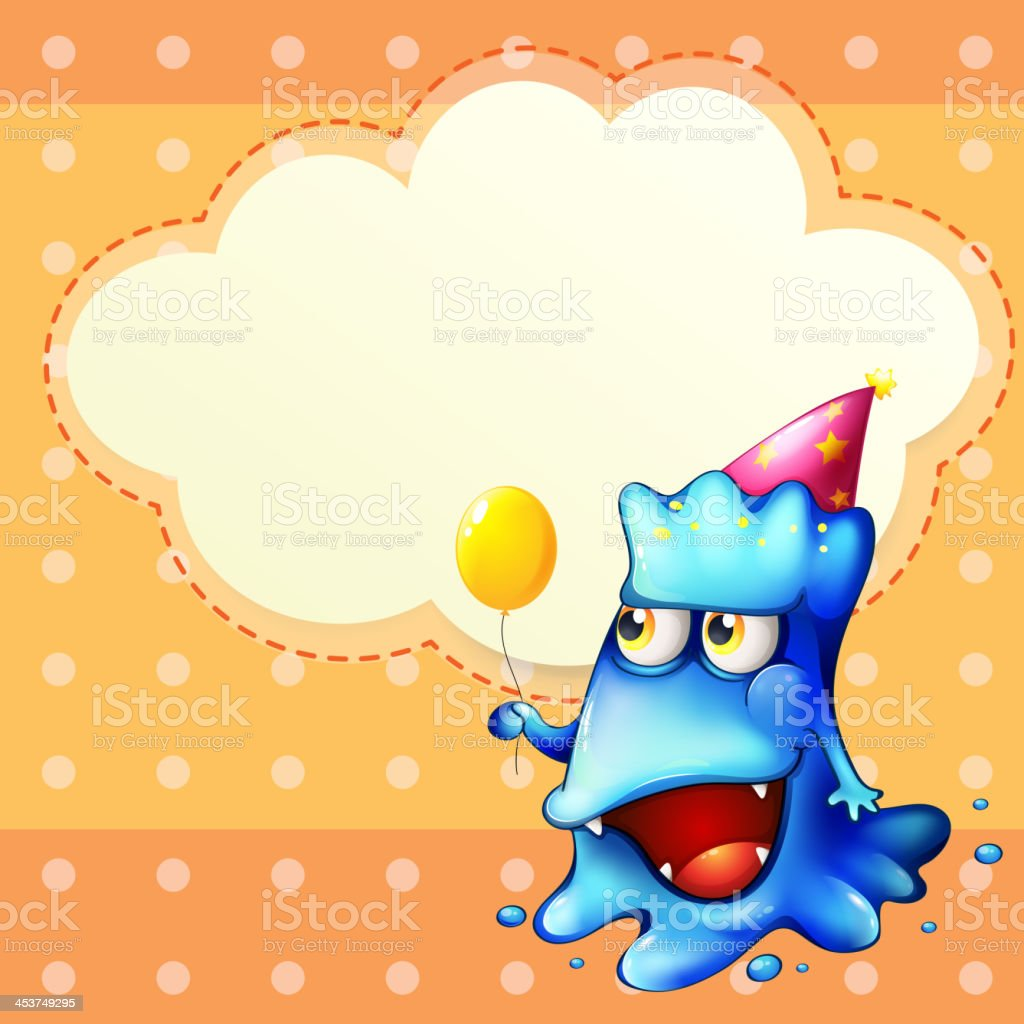 monster holding balloon standing in front of empty cloud template royalty-free stock vector art