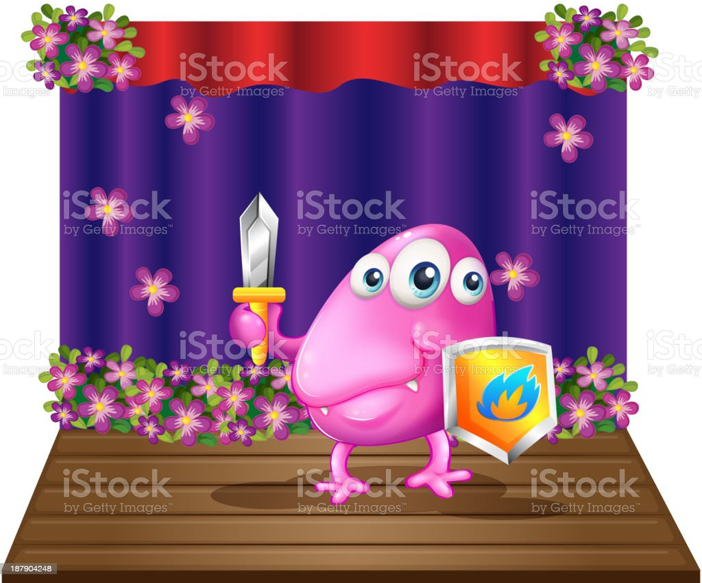 monster holding sword and a shield royalty-free stock vector art
