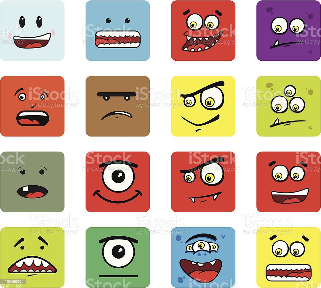 Monster Icons royalty-free stock vector art
