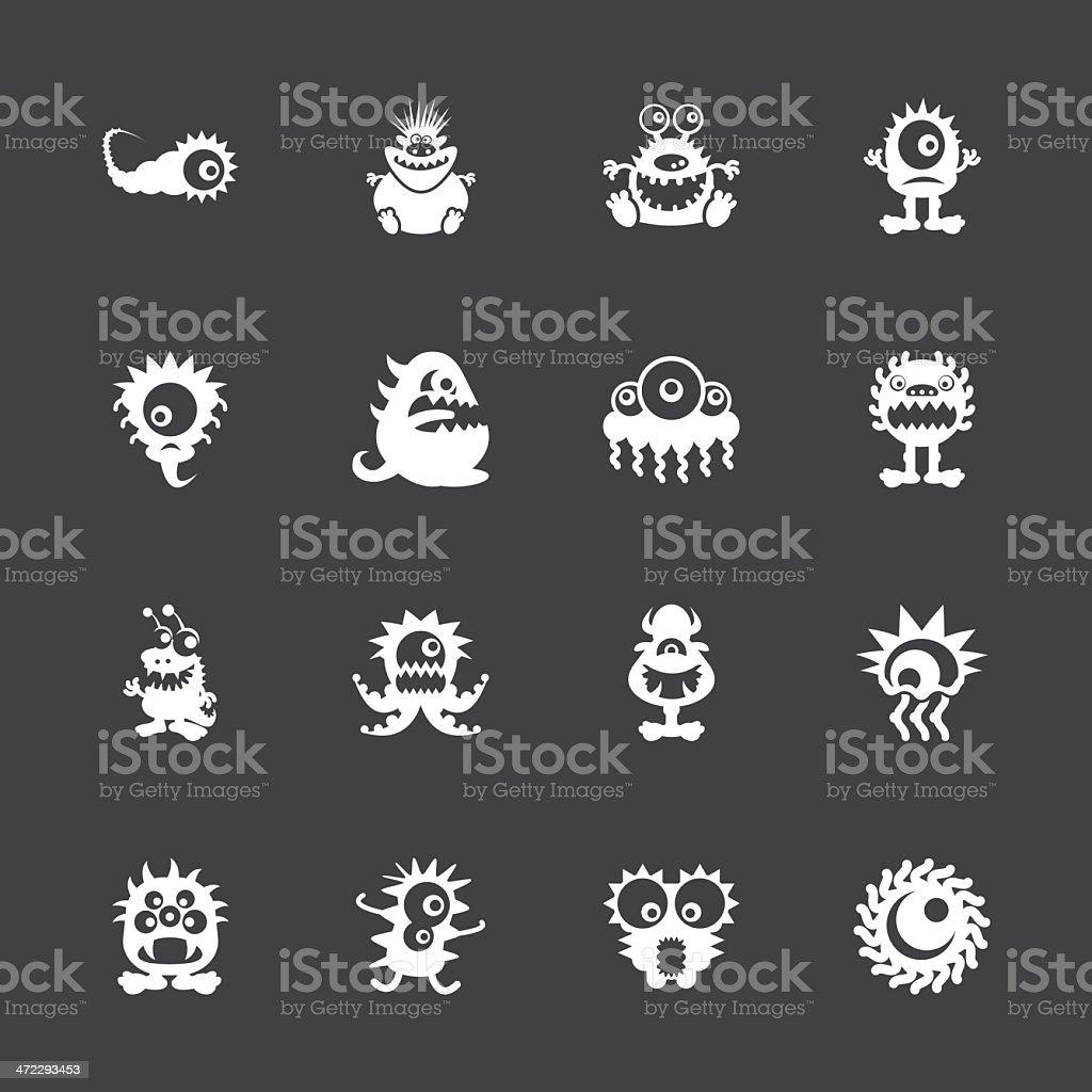 Monster Icons - White Series | EPS10 vector art illustration