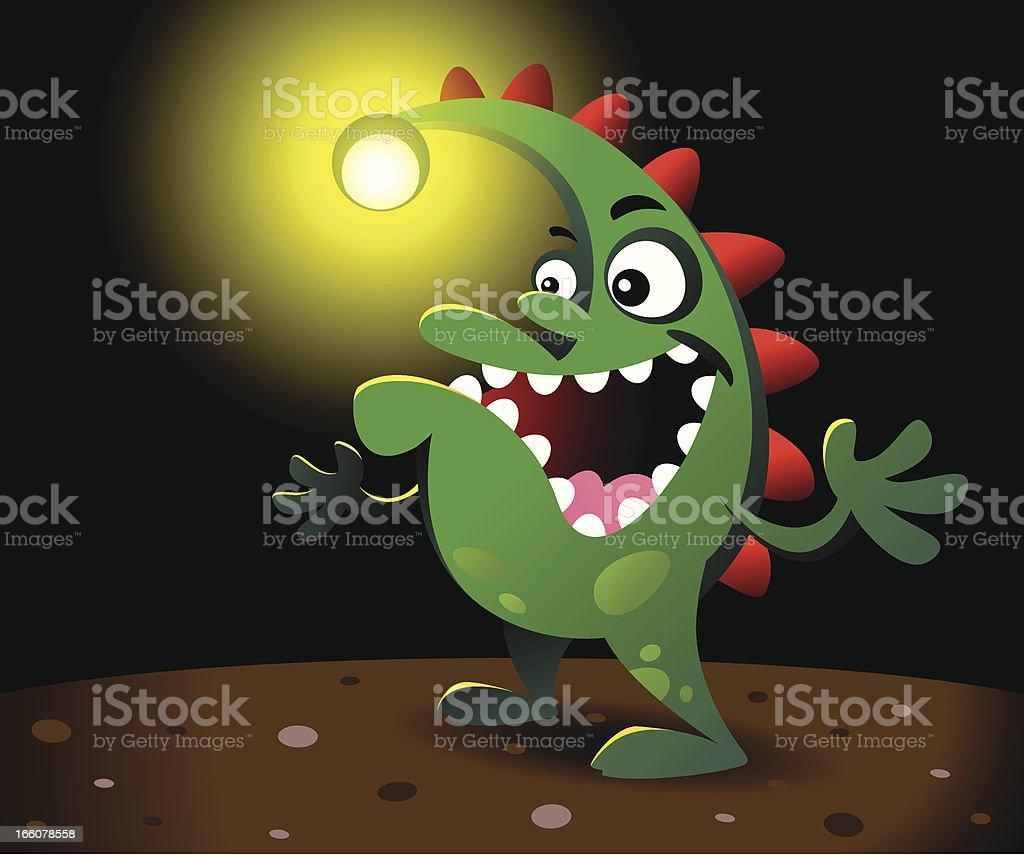 Monster in the dark vector art illustration