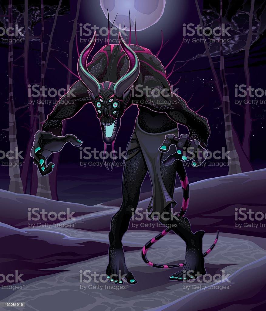 Monster in the wood vector art illustration