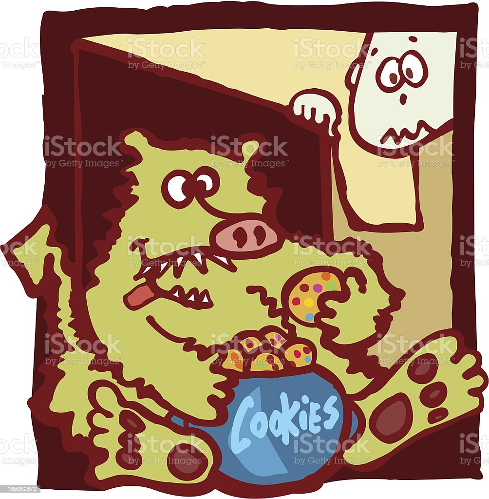 Monster in your cupboard vector art illustration