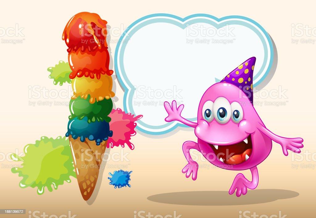 monster jumping near the giant icecream vector art illustration