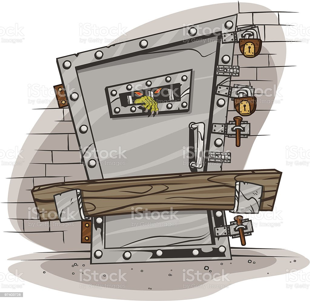 Monster Locked Up vector art illustration