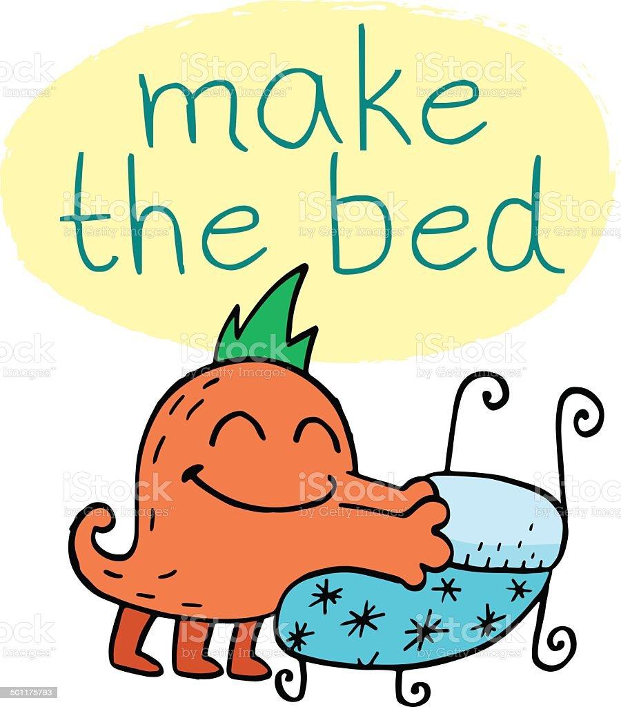 cartoon of the make bed clip art vector images illustrations istock rh istockphoto com Make Up Bed Clip Art Make Bed Chore Clip Art