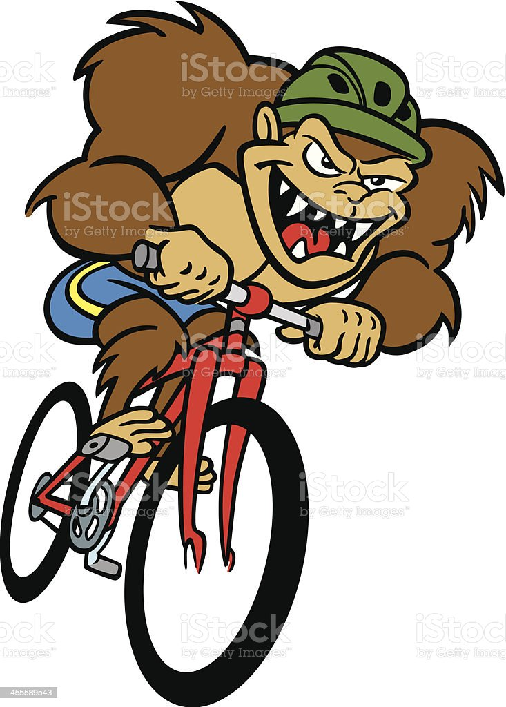 Monster on Bicycle vector art illustration
