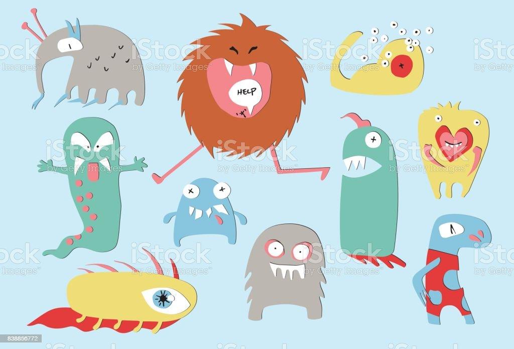 Monster Papercuts vector art illustration