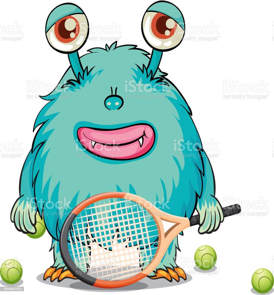 Monster playing table tennis vector art illustration