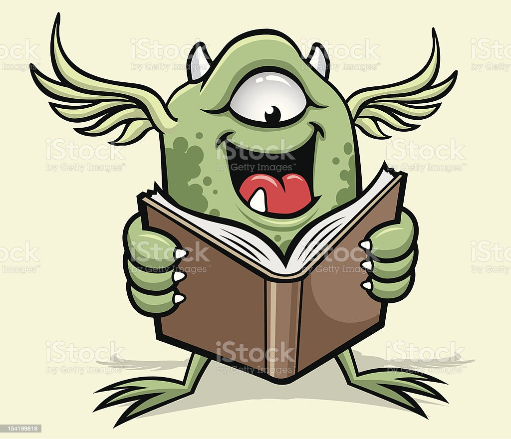 Monster Reads a Happy Story royalty-free stock vector art