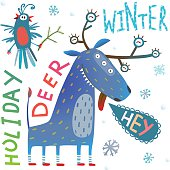 Monster reindeer Chrismas New Year funny winter holidays greeting card