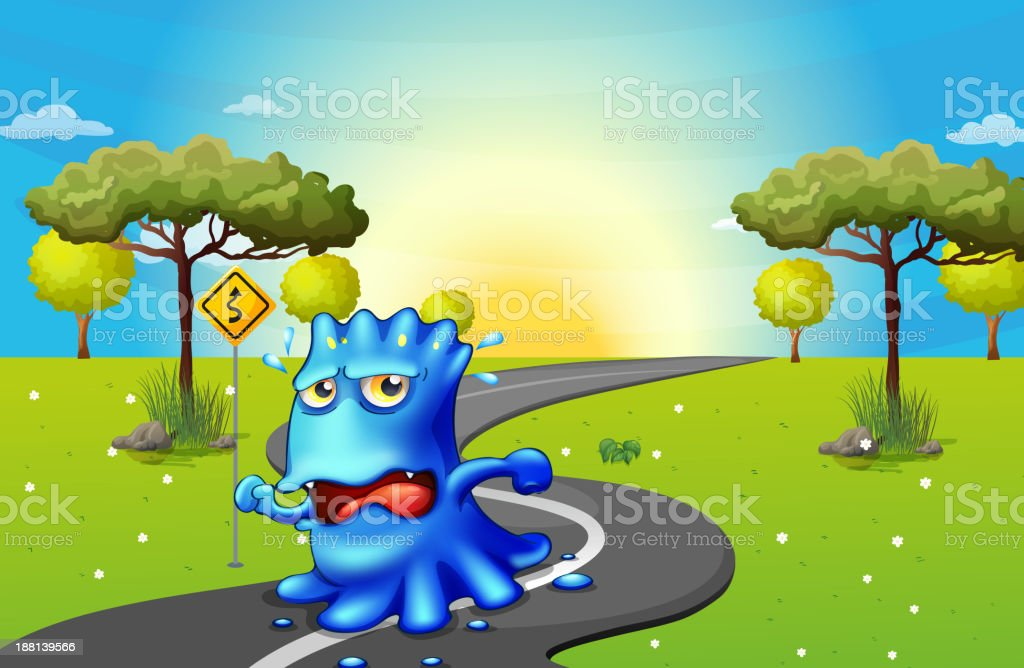 monster running at the road royalty-free stock vector art