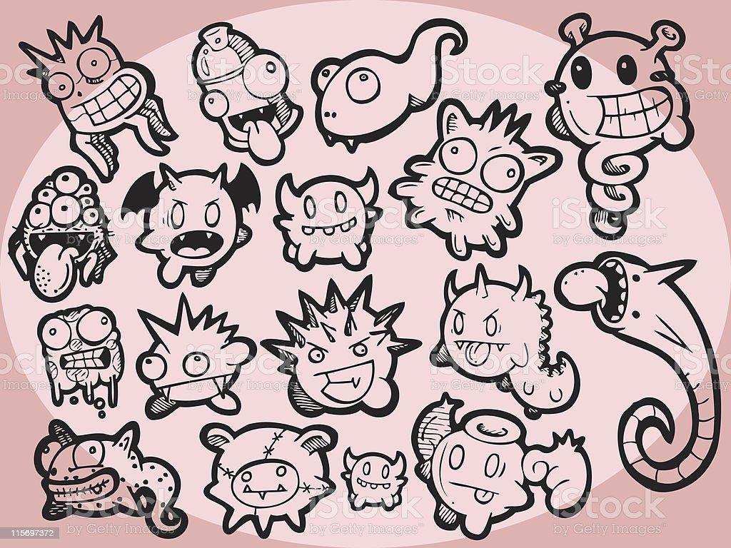 Monster Set 1 royalty-free stock vector art