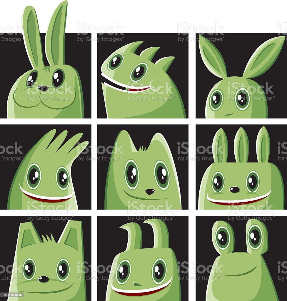 Monster set and a rabbit vector art illustration