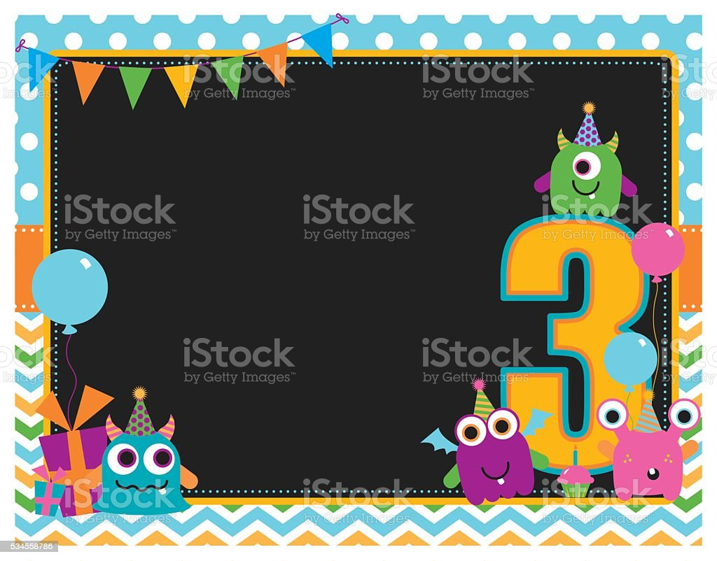 Monster Third Birthday Invitation vector art illustration