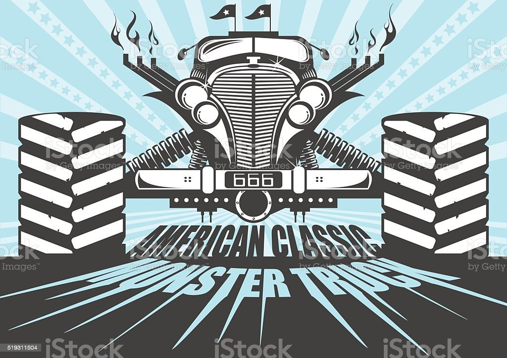 Monster truck poster vector art illustration