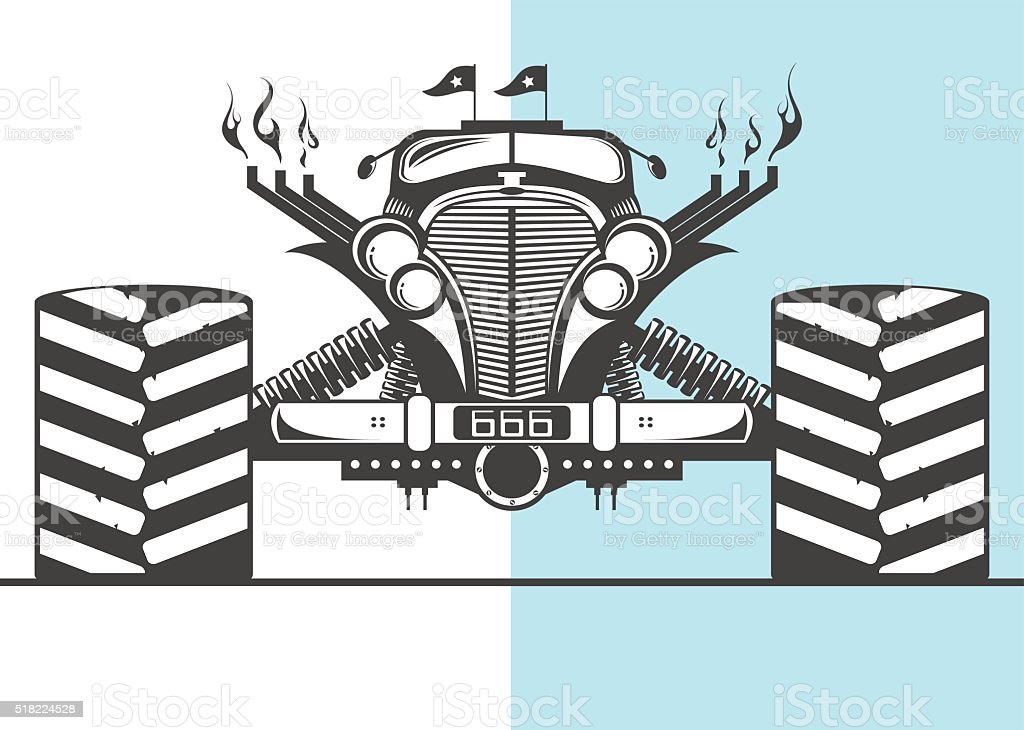 Monster truck ready for action vector art illustration