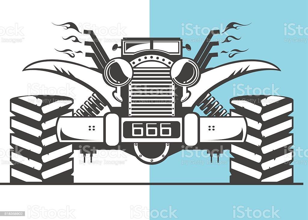 Monster truck ready to action vector art illustration