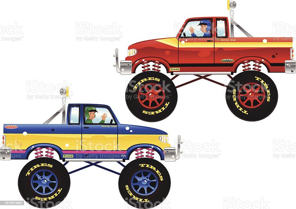 Monster trucks and drivers vector art illustration