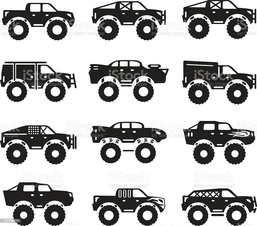 Monster trucks vector set vector art illustration