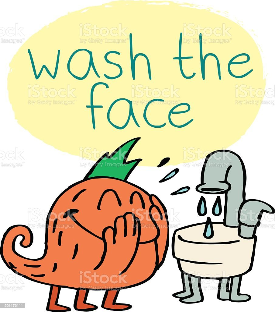 Monster Washing Face royalty-free stock vector art