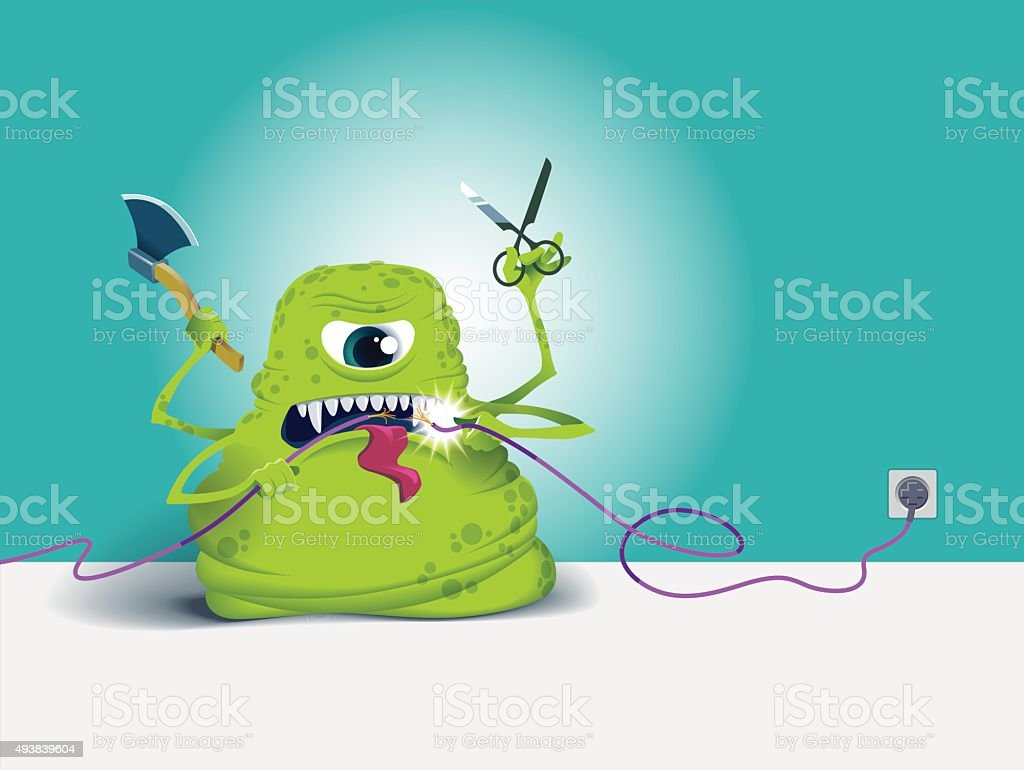 Monster which is trying to cut connection. vector art illustration