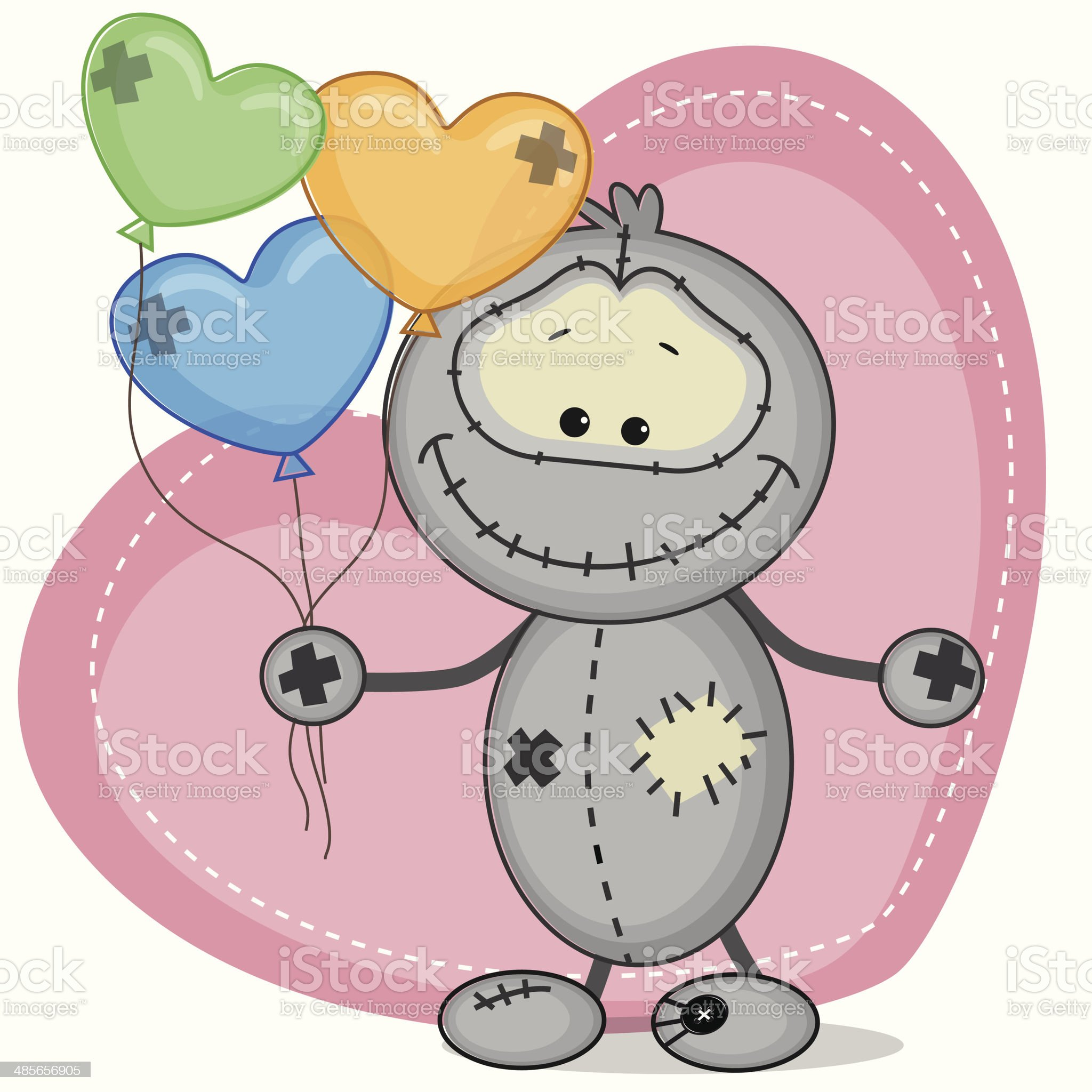 Monster with a balloons royalty-free stock vector art