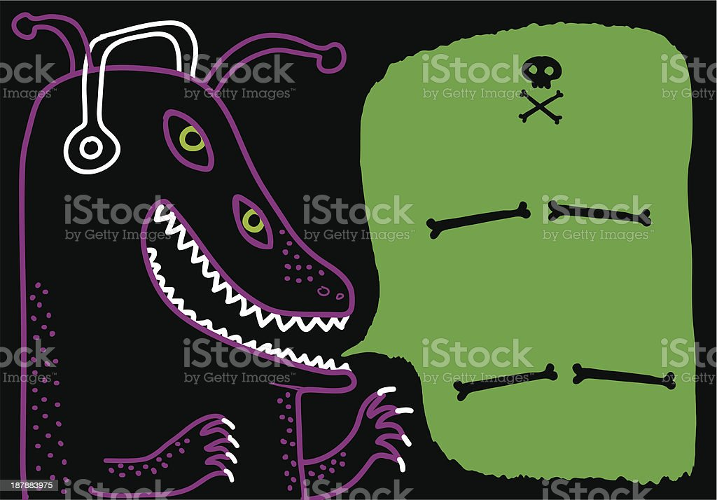 monster with headphones royalty-free stock vector art