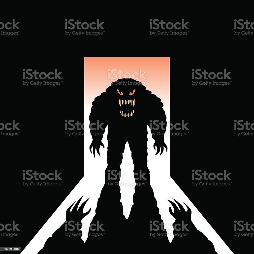 Monster with shadow in the open door vector art illustration