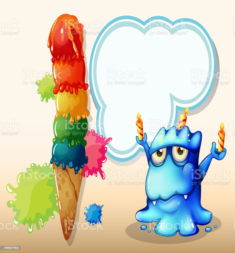 monster with three candles standing near the giant icecream royalty-free stock vector art