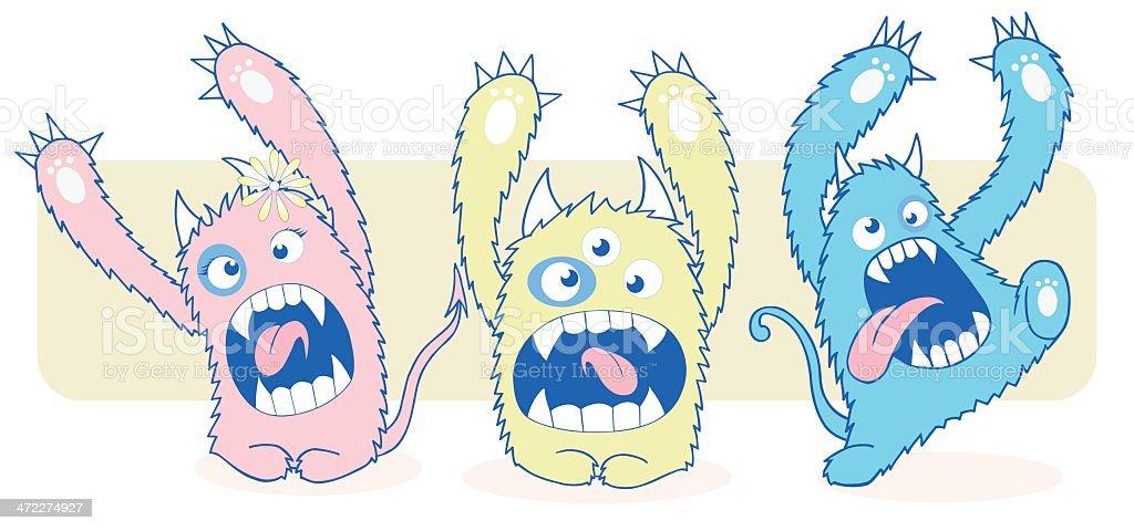 monsters 2 vector art illustration