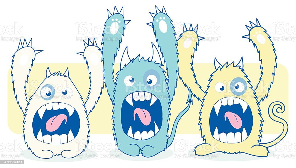 monsters 3 vector art illustration