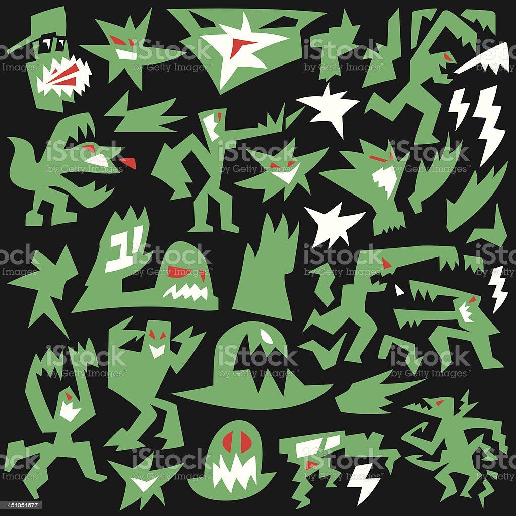 monsters , aliens - doodles set royalty-free stock vector art
