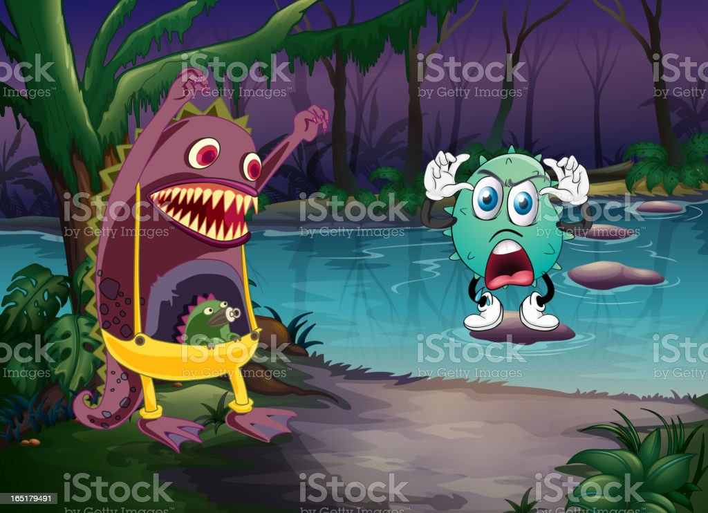 Monsters and a river royalty-free stock vector art