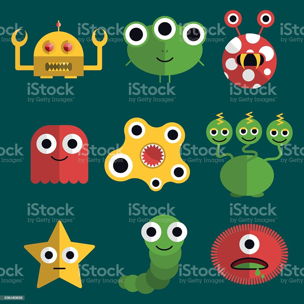 Monsters and creatures vector art illustration