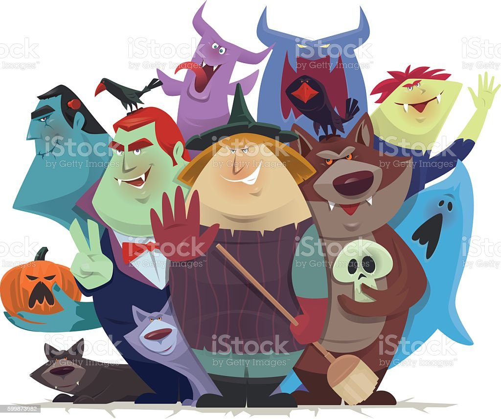 monsters and devils cheering vector art illustration