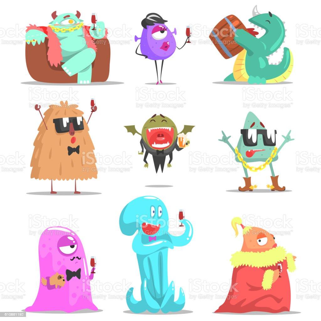 Monsters Attending Posh Glamorous Party vector art illustration
