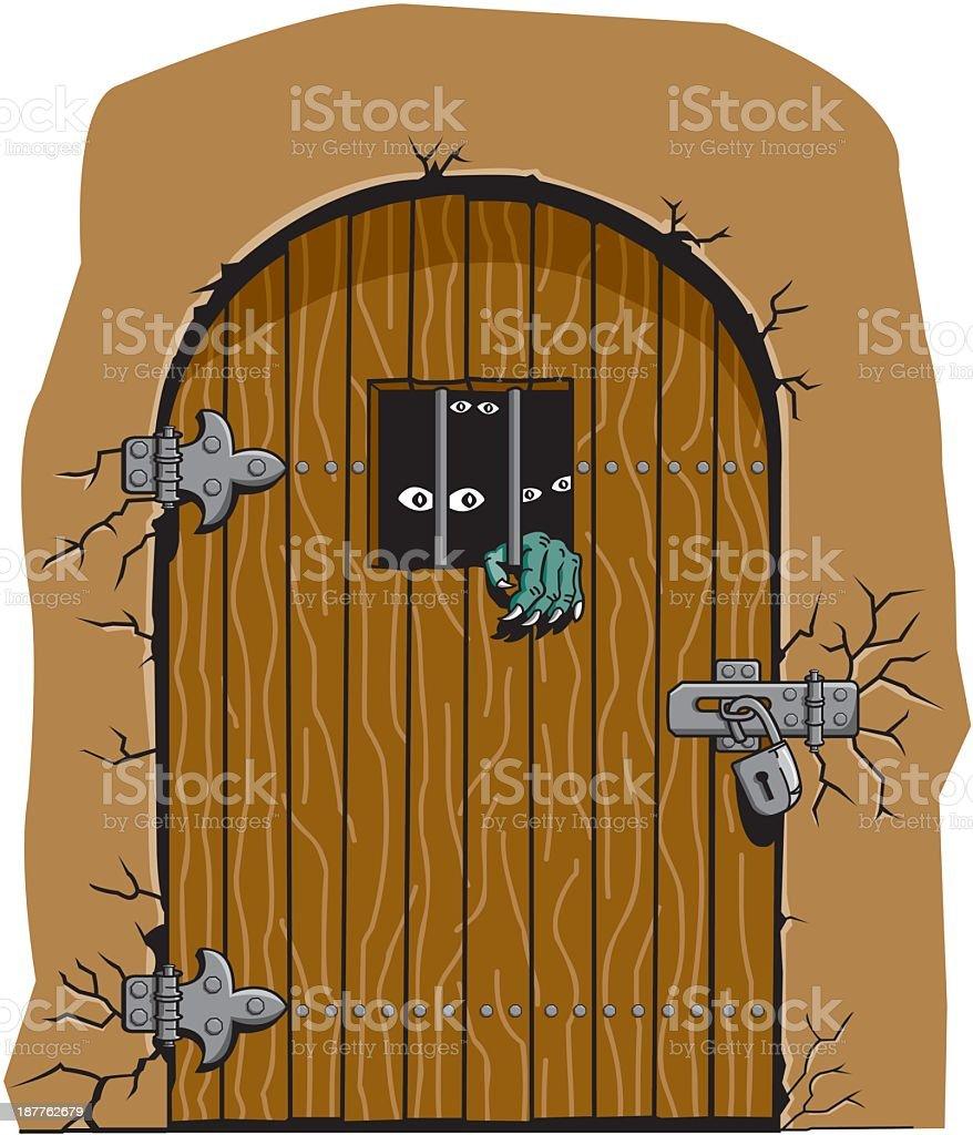 Monsters Behind Locked Door royalty-free stock vector art