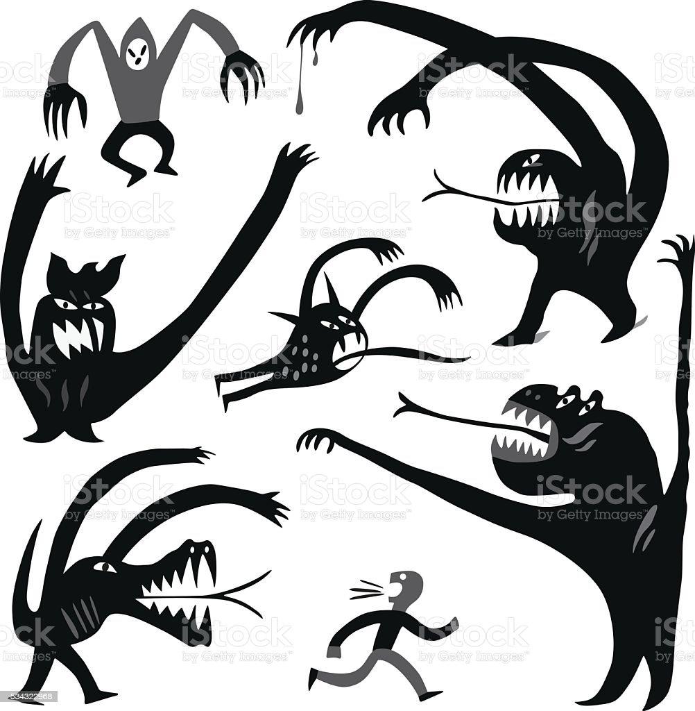 Monsters cartoons vector art illustration