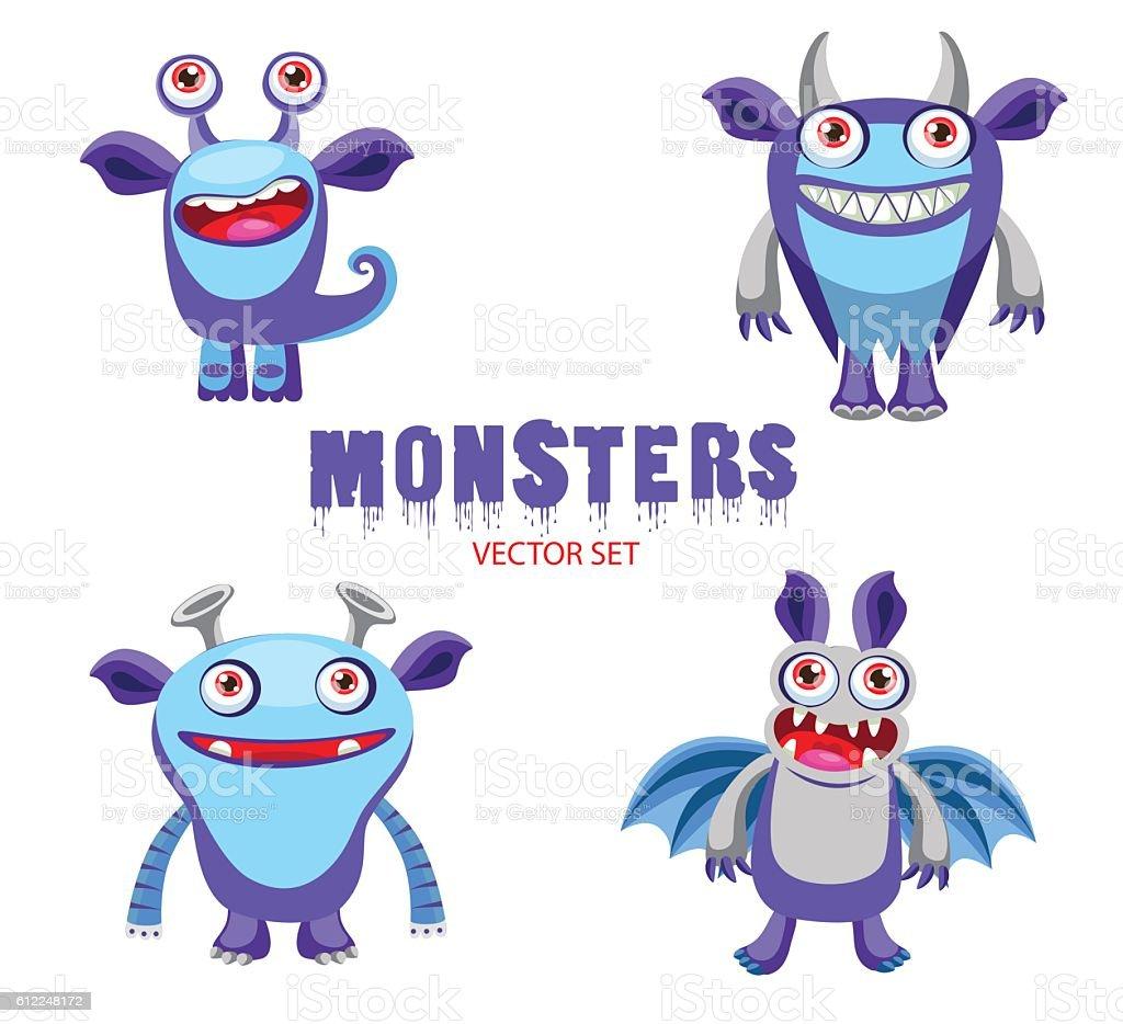 Monsters Characters. Halloween Monsters for Kids. Cute Monster Drawings. vector art illustration
