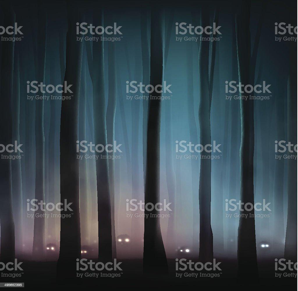 Monsters in forest vector art illustration