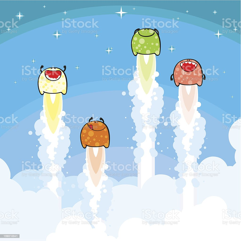 Monsters launch vector art illustration